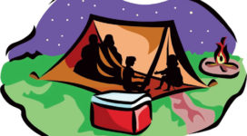 family camping in a tent